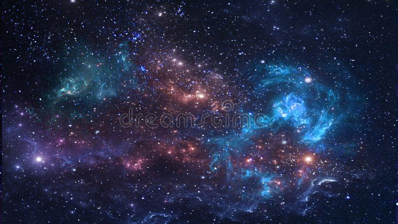 Planets and galaxy, cosmos, physical cosmology stock image