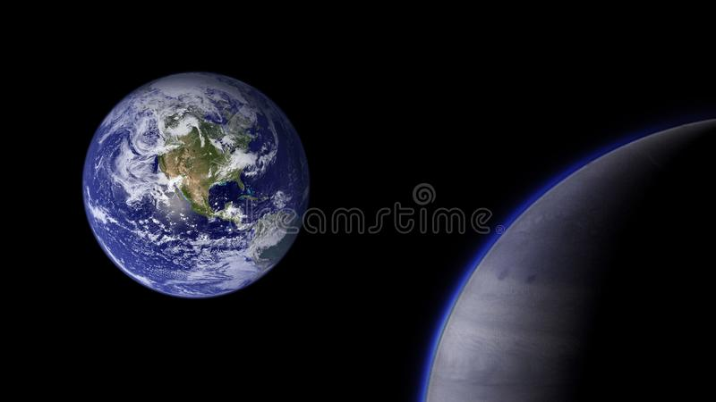 Planets and galaxy, cosmos, physical cosmology stock photo