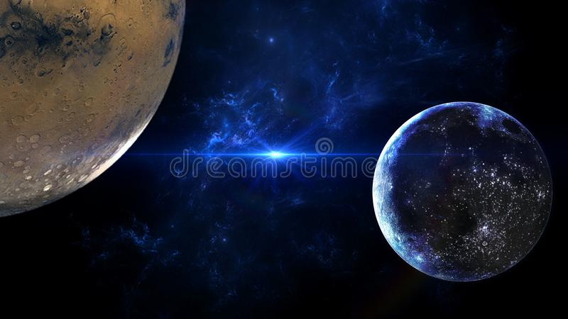 Planets and galaxy, science fiction wallpaper. Astronomy is the scientific study of the universe stars, planets, galaxies, and eve. Nt Horizon, Singularity royalty free stock images