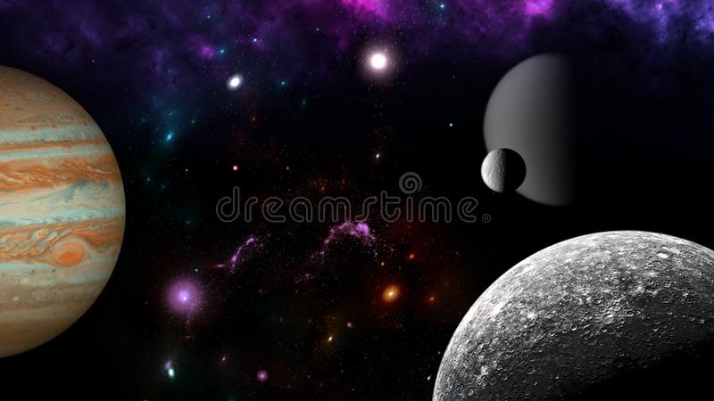 Planets and galaxy, science fiction wallpaper. Astronomy is the scientific study of the universe stars, planets, galaxies, and eve. Nt Horizon, Singularity royalty free stock image
