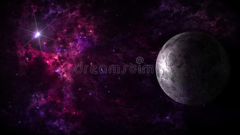Planets and galaxy, science fiction wallpaper. Beauty of deep space. Billions of galaxies in the universe Cosmic art background vector illustration