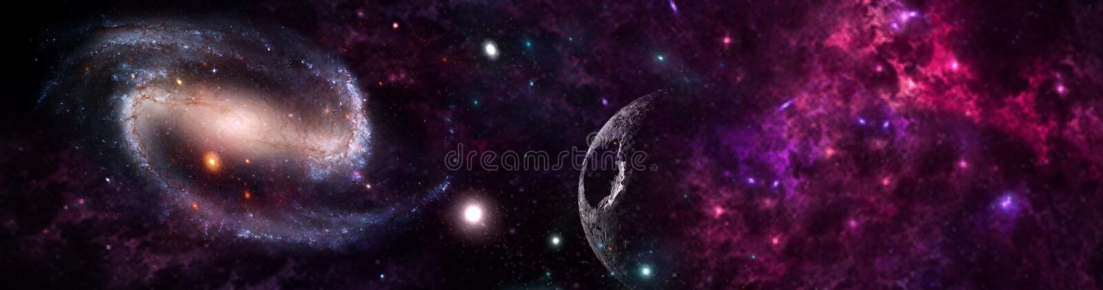 Planets and galaxy, science fiction wallpaper. Beauty of deep space. Billions of galaxy in the universe Cosmic art background stock images