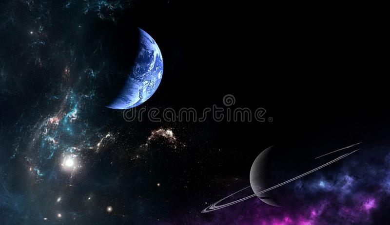 Planets and galaxy, science fiction wallpaper. Beauty of deep space. Planets and galaxy, cosmos, physical cosmology, science fiction wallpaper. Beauty of deep royalty free stock images