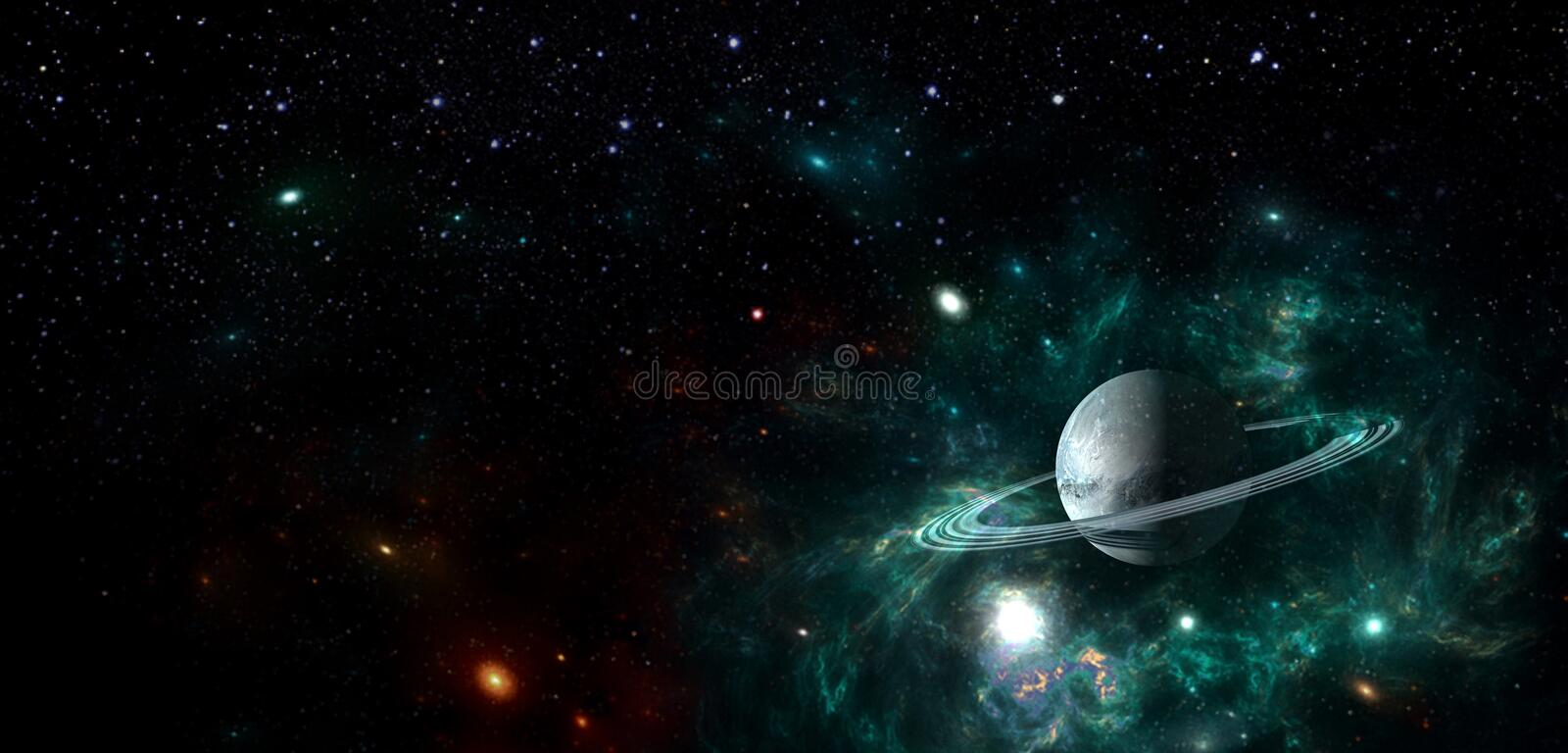 Planets and galaxy, science fiction wallpaper. Beauty of deep space. Billions of galaxy in the universe Cosmic art background stock illustration