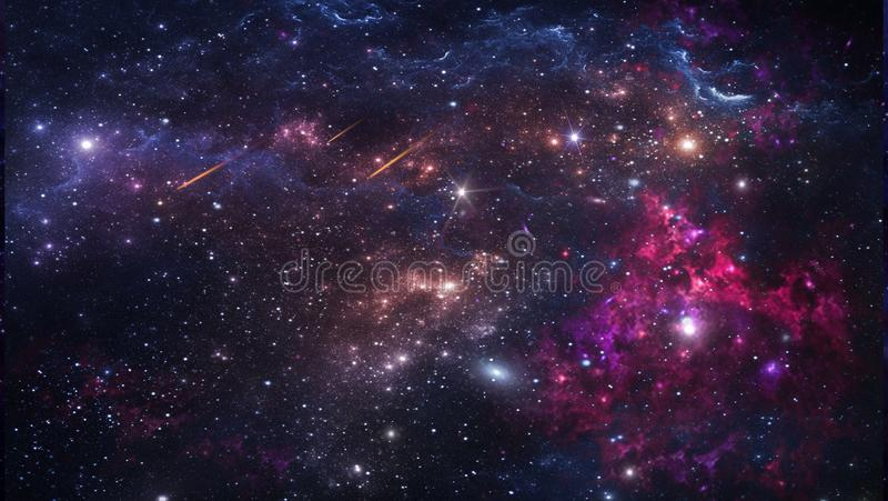 Planets and galaxy, science fiction wallpaper. Beauty of deep space. Billions of galaxies in the universe Cosmic art background stock illustration