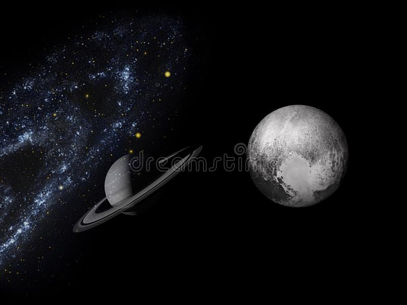 Planets and galaxy, science fiction wallpaper. Beauty of deep space. Universe all existing matter and space considered as a whole the cosmos.  scene with royalty free stock photography