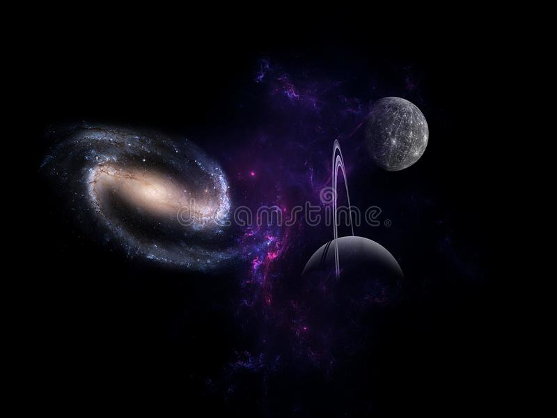 Planets and galaxy, science fiction wallpaper. Beauty of deep space. Universe all existing matter and space considered as a whole the cosmos.  scene with royalty free stock image