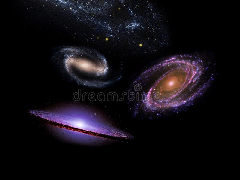 Planets and galaxy, science fiction wallpaper. Beauty of deep space. Universe all existing matter and space considered as a whole the cosmos.  scene with royalty free stock photos