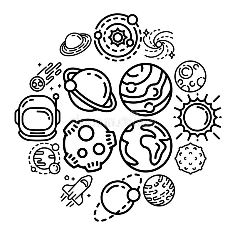 Planets icon set, outline style stock illustration