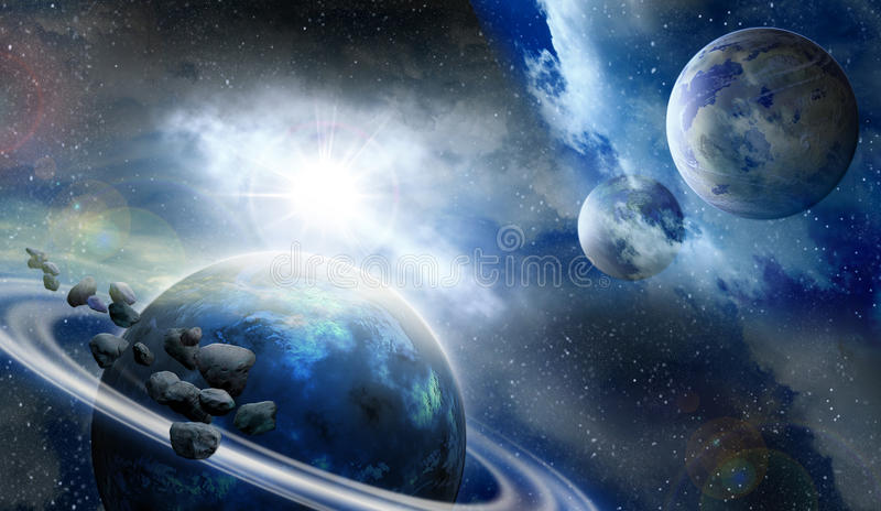 Download Planets And Meteorites In Space Stock Illustration - Image: 31894715