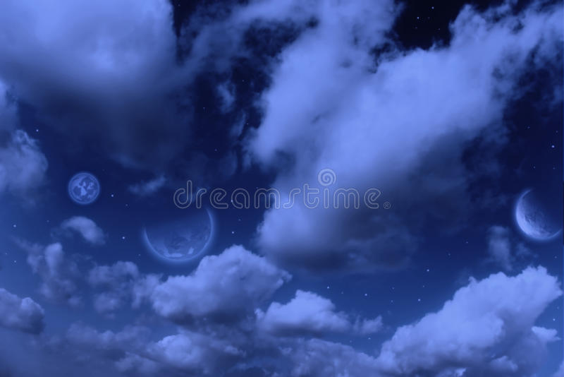 Planets,  Moon And Stars In  Cloudy Sky Stock Photos