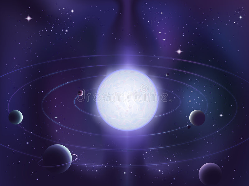 Planets orbiting around a bright white star royalty free illustration