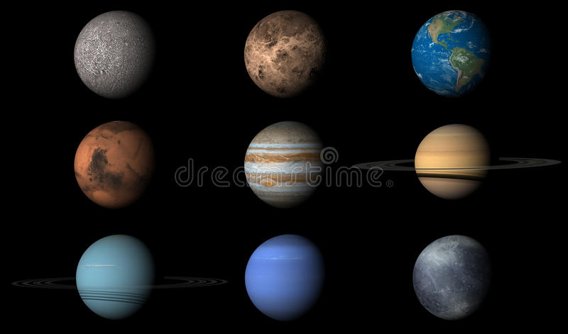 The Planets of the Solar System stock illustration