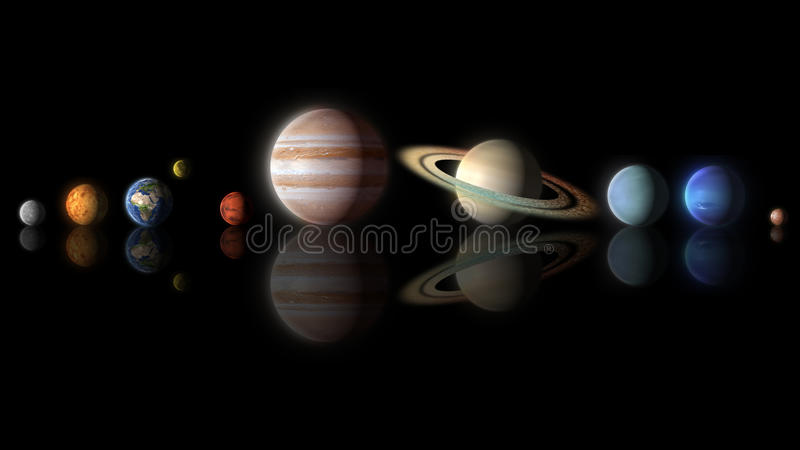 Planets of the solar system aligned on black background royalty free illustration