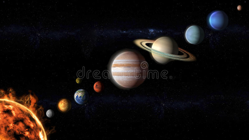 Planets of the Solar System aligned. Planets of the Solar System view from space vector illustration