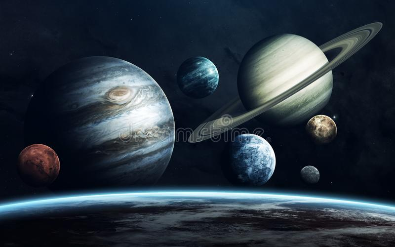 Planets of Solar system. Earth, Mars, Jupiter and others. Elements of this image furnished by NASA. Incredibly beautiful space wallpaper. Elements of this image vector illustration