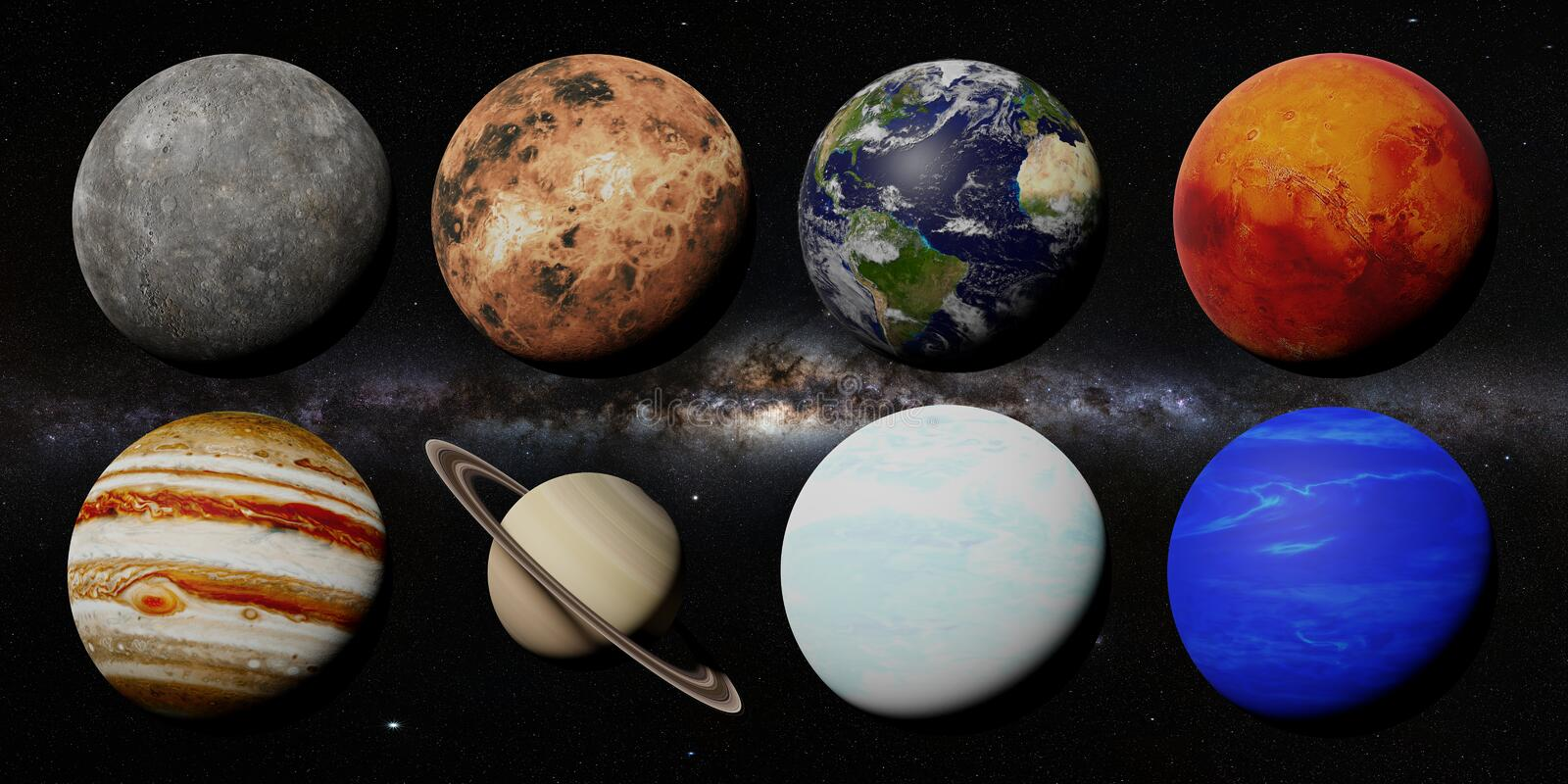 The planets of the solar system in front of the Milky Way galaxy 3d space rendering, elements of this image are furnished by NASA stock photos