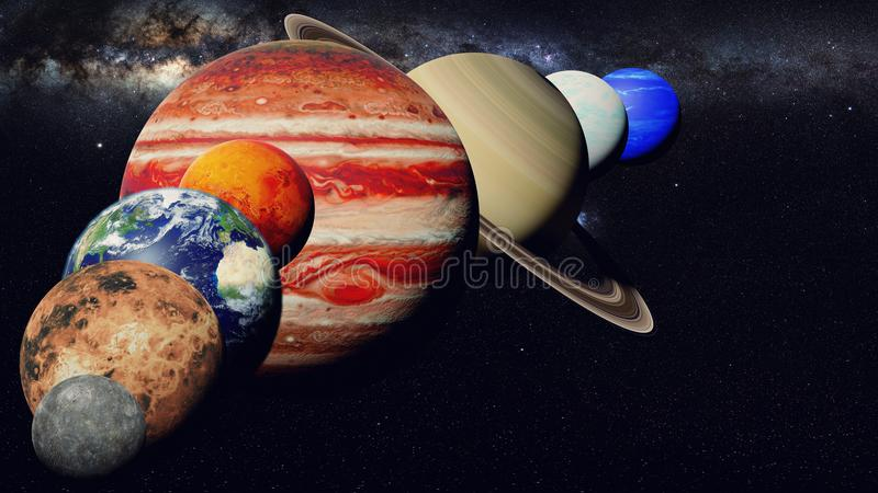The planets of the solar system with the Milky Way galaxy in empty space vector illustration
