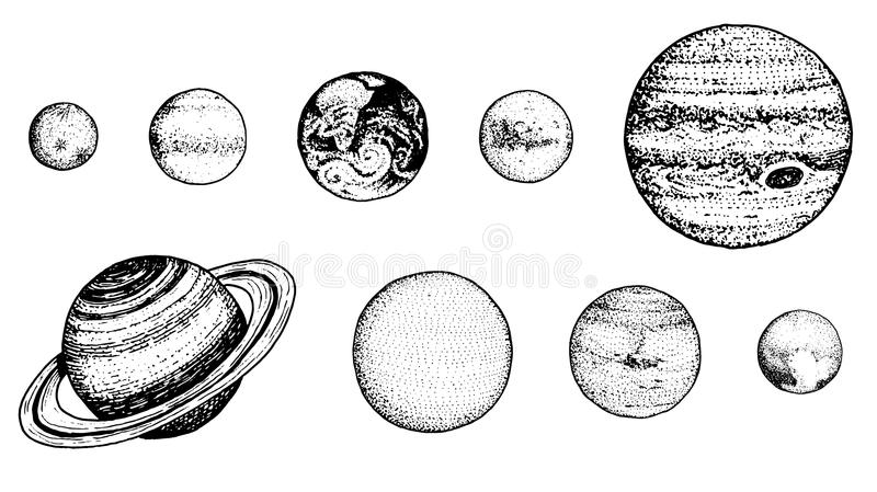 Planets in solar system. moon and the sun, mercury and earth, mars and venus, jupiter or saturn and pluto. astronomical. Galaxy space. engraved hand drawn in royalty free illustration