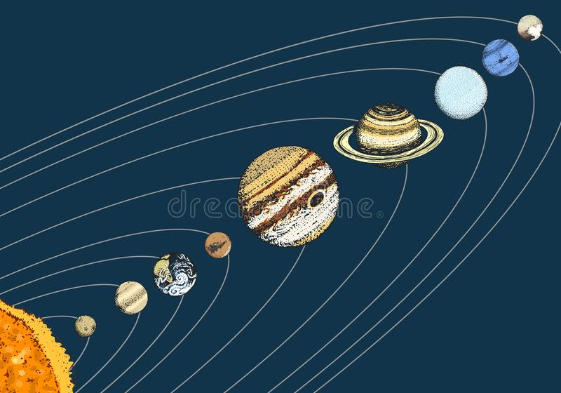 Planets in solar system. moon and the sun, mercury and earth, mars and venus, jupiter or saturn and pluto. astronomical. Galaxy space. engraved hand drawn in vector illustration