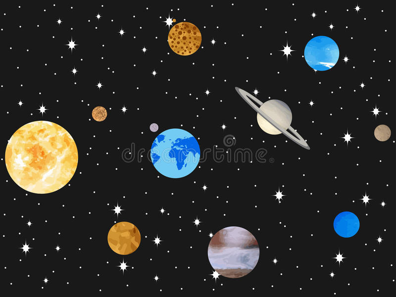 Planets of the solar system. Outer space, open space. Vector stock illustration