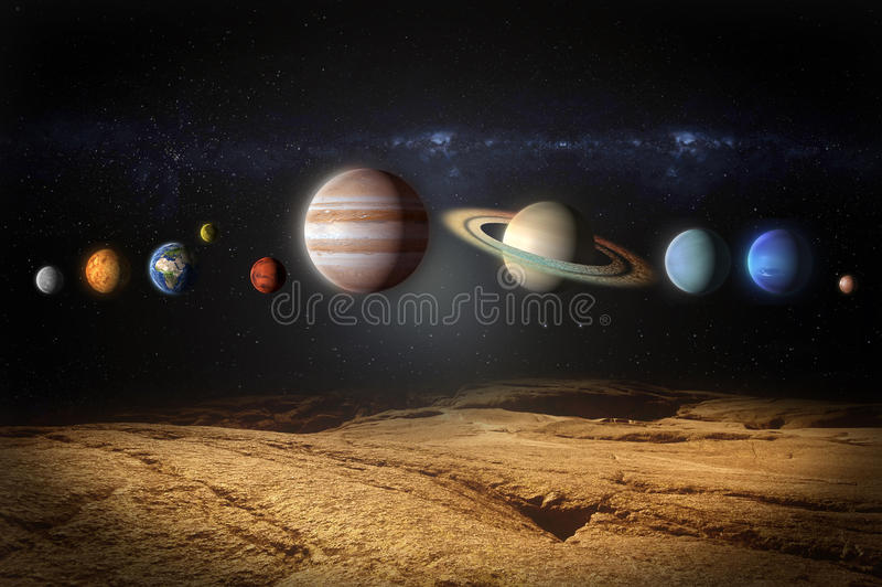 Planets of the solar system view from rocky planet stock illustration