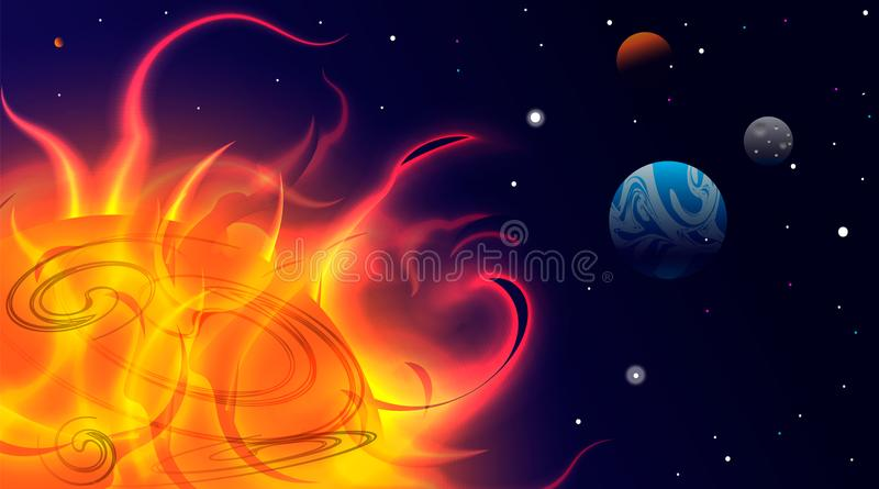 Planets in Space. Bright Sunlight in the Cosmos. Beautiful Planets on Gradient Background. Space Abstraction. Planets in Space. Su royalty free illustration