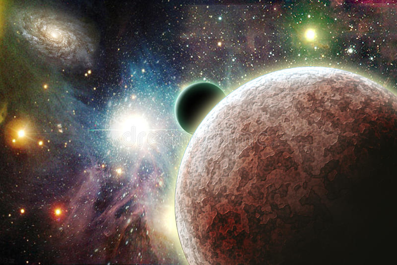 Planets in space. With Galaxy Some elements provided courtesy of NASA royalty free illustration
