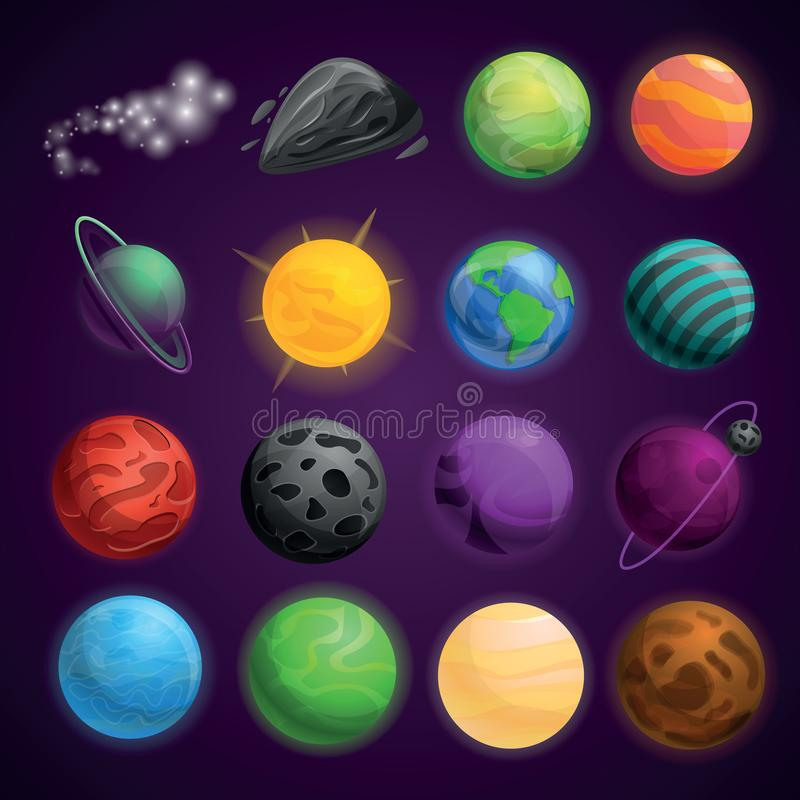 Planets space icon set, cartoon style. Planets space icon set. Cartoon set of planets space vector icons for web design royalty free illustration