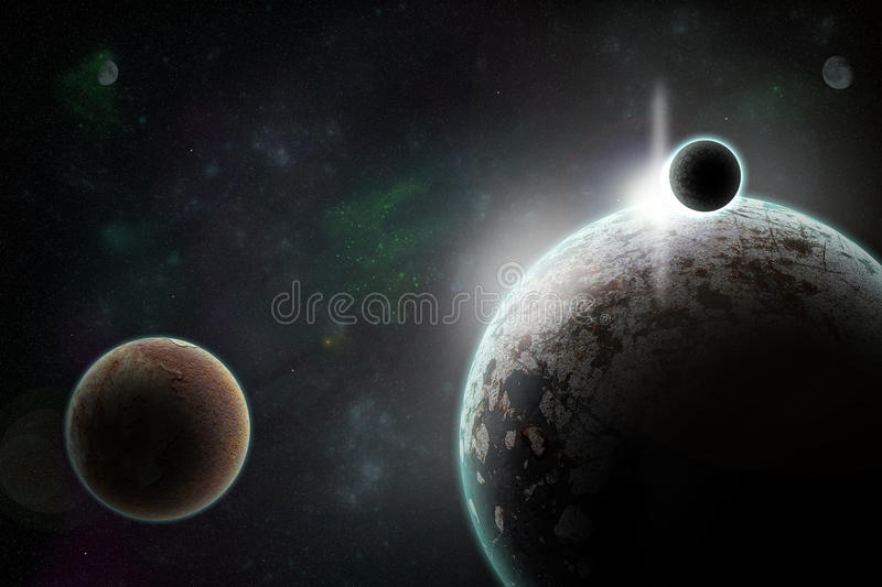 Planets in space. Rock planet with galaxies and stars in open space. Sunrise over the horizon unknown dead planet somewhere in the universe taken from orbit royalty free illustration
