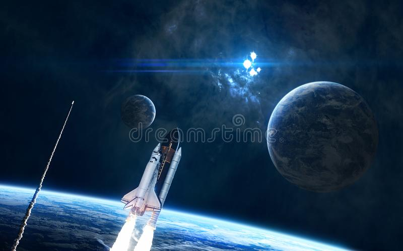 Planets, space shuttles in deep space. Nebula, star cluster. Science fiction. Elements of this image furnished by NASA royalty free stock photos