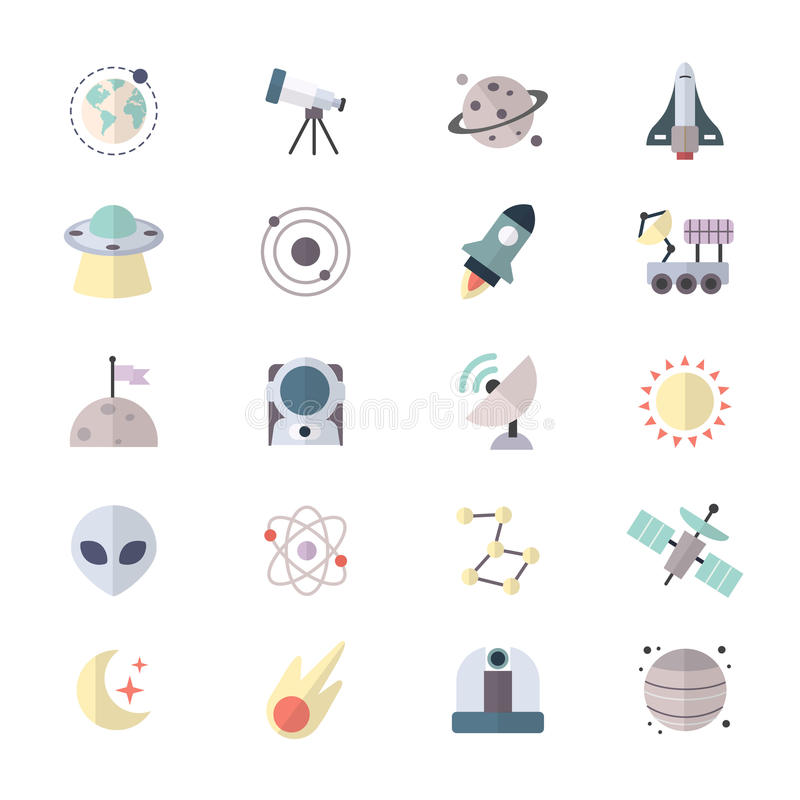 Planets In Space and Universe Galaxy Icons stock illustration