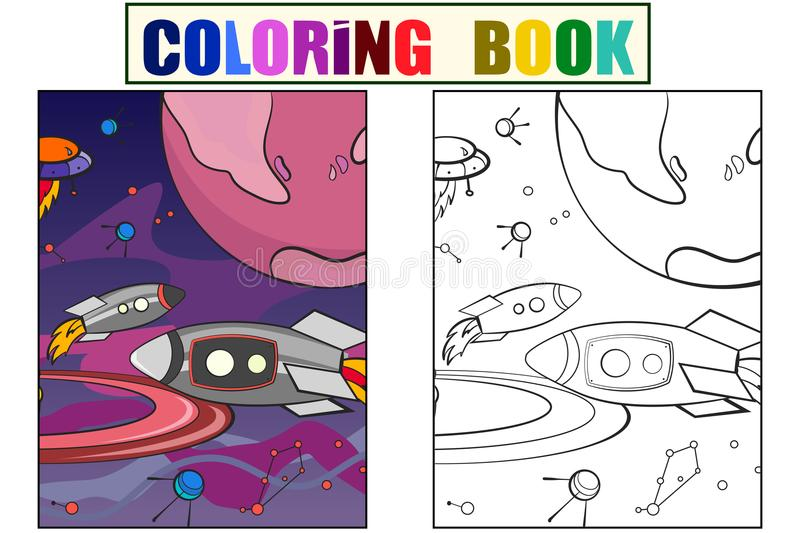 With planets space vector for adults. Cartoon children coloring, color, black and white stock illustration