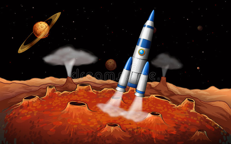 Planets and a spaceship at the outerspace royalty free illustration