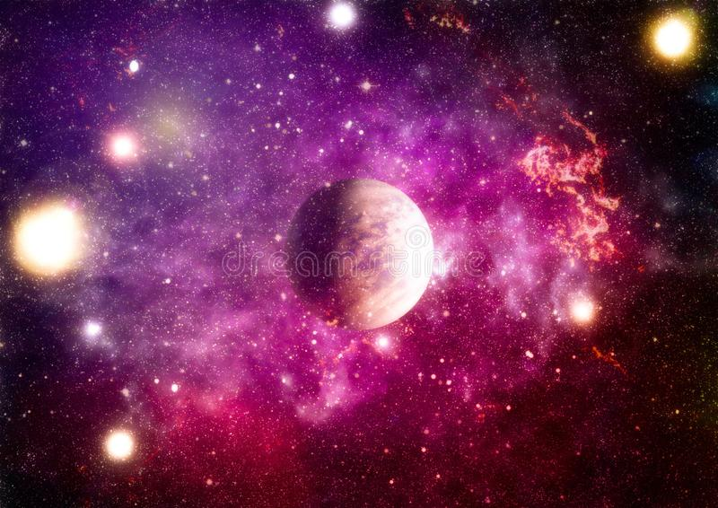 Chaotic space background. planets, stars and galaxies in outer space showing the beauty of space exploration. Elements furnished. Planets, stars and galaxies in royalty free stock images