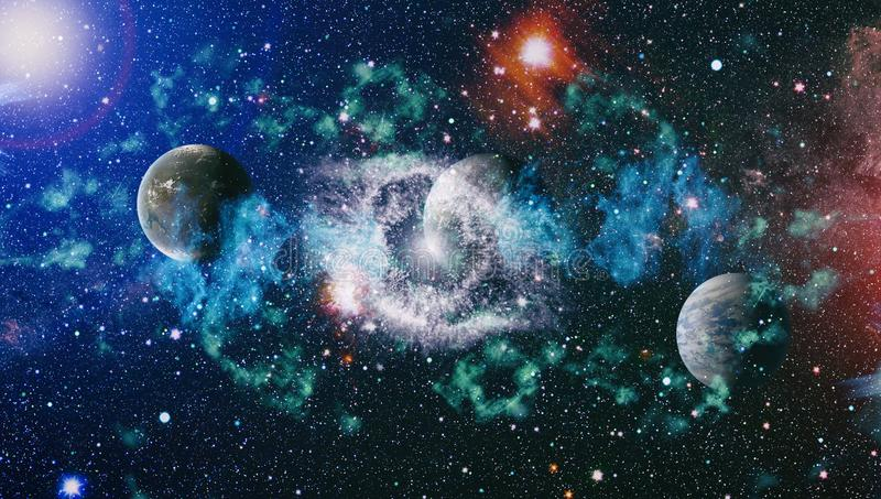 Colored nebula and open cluster of stars in the universe. Elements of this image furnished by NASA. Planets, stars and galaxies in outer space showing the royalty free illustration