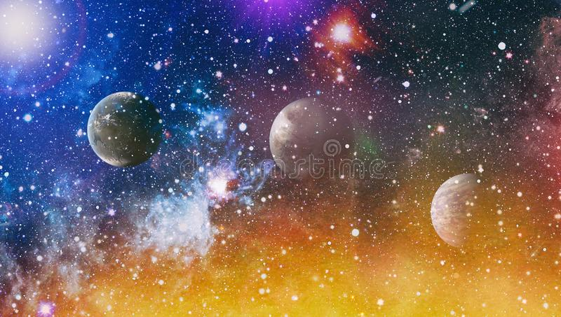 Planets, stars and galaxies in outer space showing the beauty of space exploration. Elements furnished by NASA. Space many light years far from the Earth vector illustration