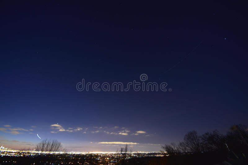 Planets and stars. Newark NJ. New Jersey plane trail stock image