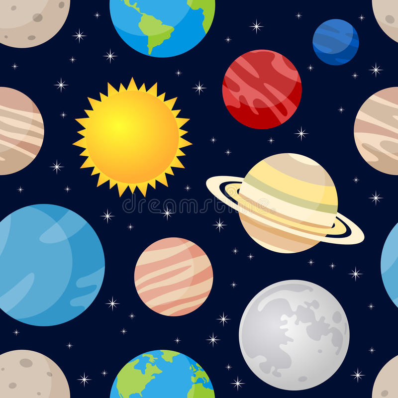 Planets and Stars Seamless Pattern. A cartoon seamless pattern with the eight planets of the solar system, the Sun and the Moon, on dark blue background with stock illustration