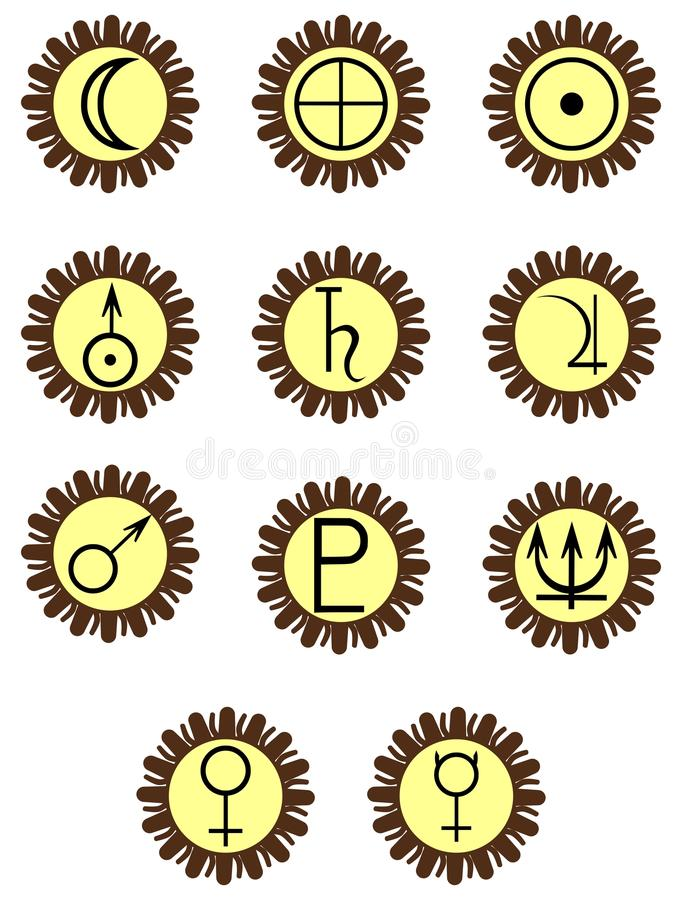 Planets symbols on colorful decoration. Image representing eleven decorations with symbols of planets of the solar system. A nice decorated idea that can be used vector illustration