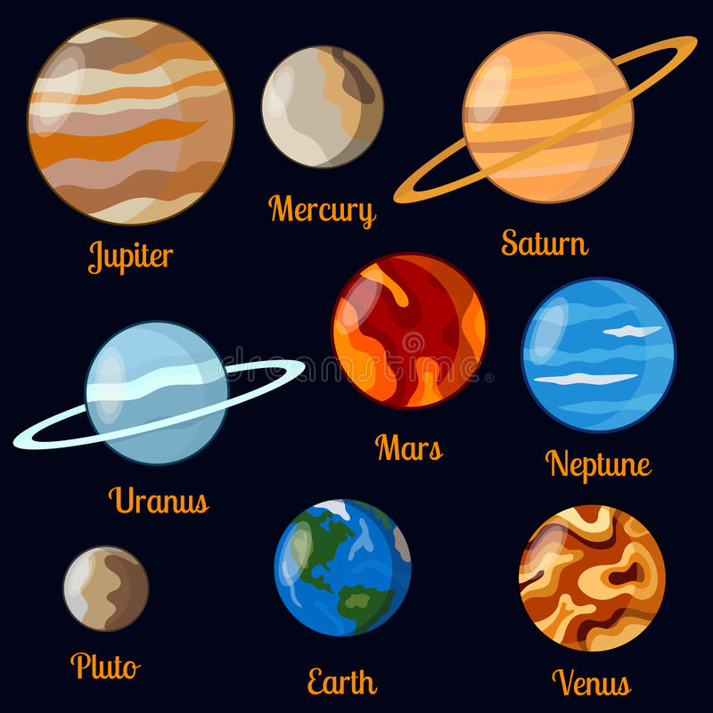 Planets vector set. Main known planets vector illustration. Cosmos vector set vector illustration