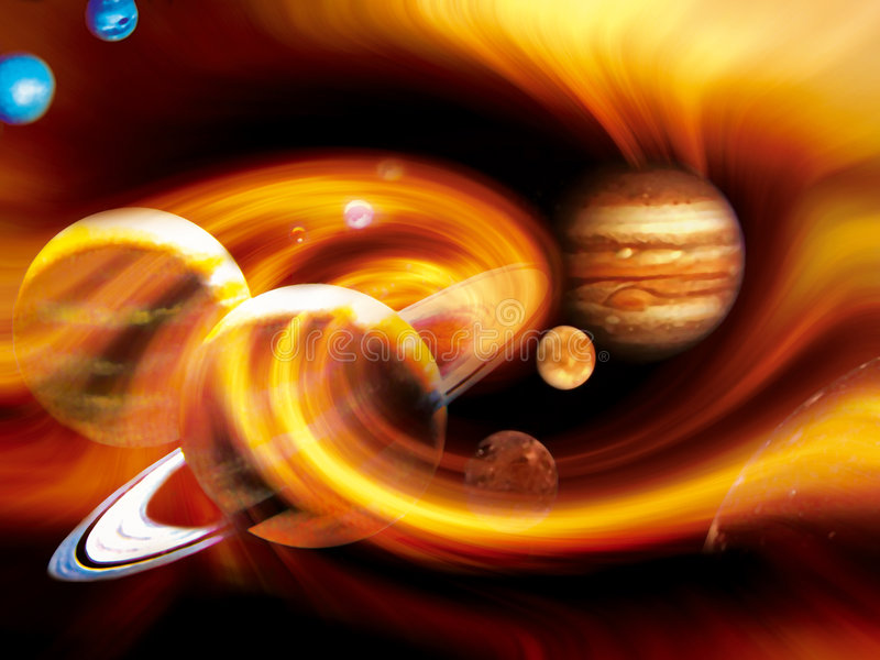 Planets whirl. Artistic representation of solar system planets stock illustration