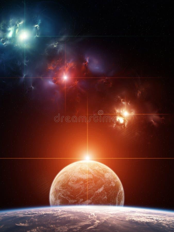 Planetsystem med den färgrika nebulaen på bakgrund stock illustrationer