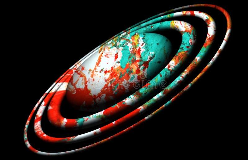 Planetuje, błękitne białe czerwieni orbity, światła, niebo, gwiazdowy wizerunek, ziemia, galaxy projekt i tło, ilustracji