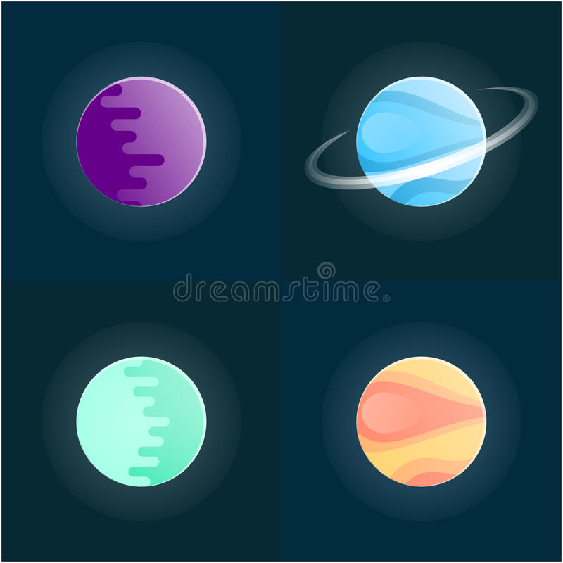 Planetuje kolorowego set na ciemnym tle również zwrócić corel ilustracji wektora zdjęcia stock