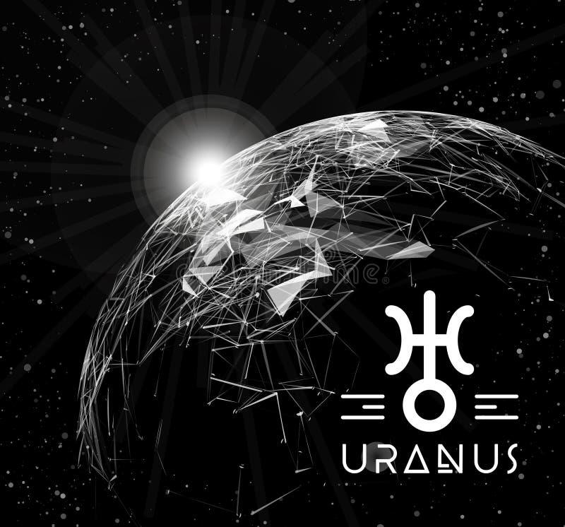 Planetuje Uranus w postaci poligonalnych siatka elementów w postaci linii i punktów Planeta w astrologii jest royalty ilustracja