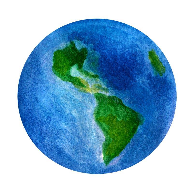 Planetuje ziemię, Ameryka ` s kontynent - piękna ręcznie malowany akwareli ilustracja ilustracja wektor
