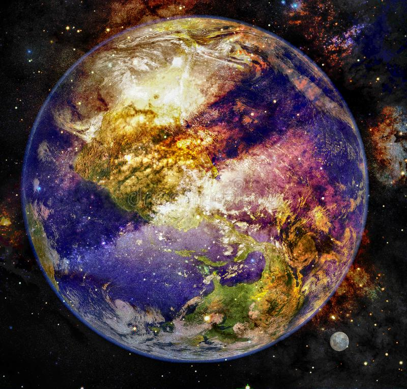 Planetuje ziemię na tle mgławica w kosmosie ilustracji
