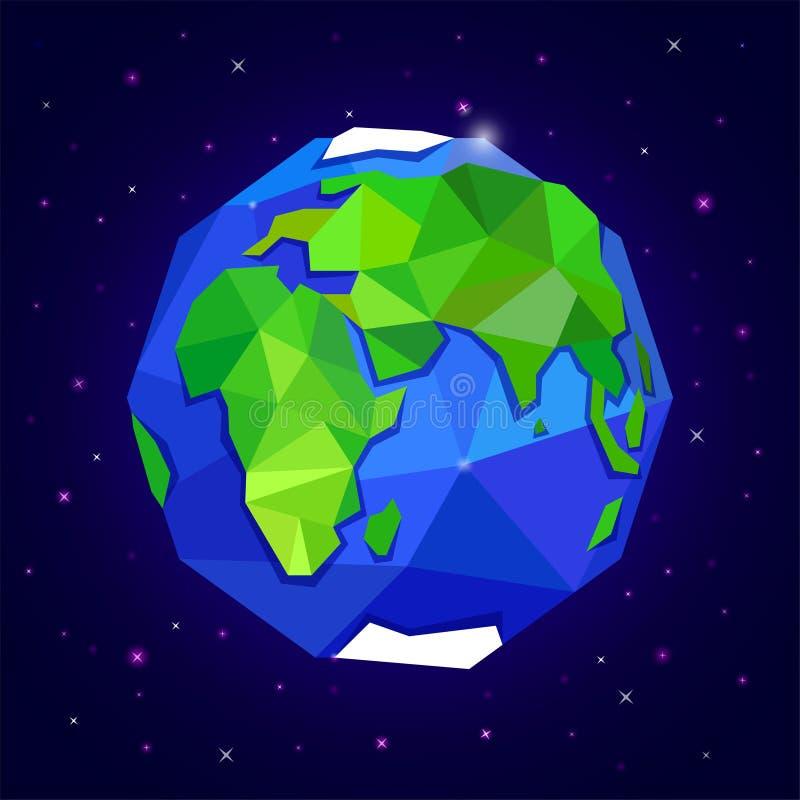 Planetuje ziemię na zmroku - błękitny gwiaździsty niebo ilustracji