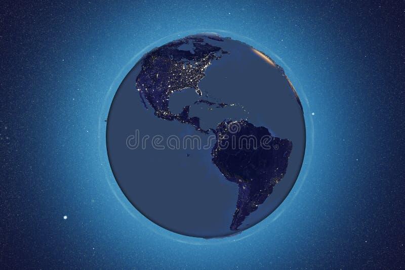 Planetuje ziemię od astronautycznego pokazuje Ameryki w nocy ilustracji